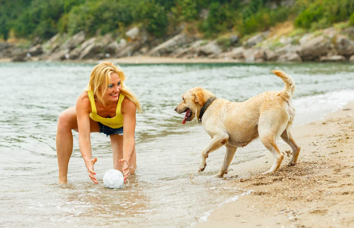 Summer vacation - woman with dog playing on the beach